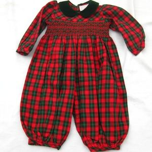 A Charleston Child Plaid Smocked Bubble Longall